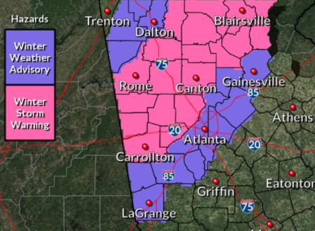 cobb schools releasing early nws winter storm warning